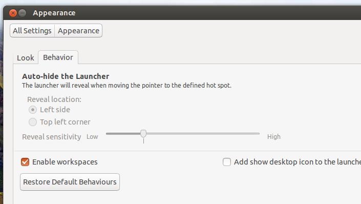 enable Workspaces for Ubuntu 15.04